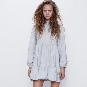 Zara grey elasticized mini dress NWT new season